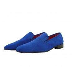 Zapato en ante con suela de cuero con goma inyectada
