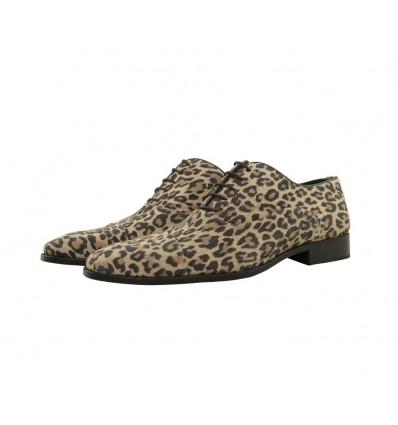 Zapato piel serraje leopardo blucher